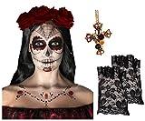 JOUR DE MORT SQUELETTE TATOUAGE VISAGE KIT + 3 rouge foncé cheveux roses + croix collier