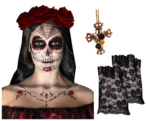 Tag der Toten Skelett Face Tattoo Kit + 3 dunkle rote Haare Rosen + Kreuz Halskette + Handschuhe