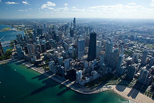 The Poster Corp Panoramic Images - Aerial View of a City Oak Street Beach Lake Michigan Chicago Cook County Illinois USA Photo Print (68,58 x 22,86 cm)