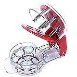 Condello Casa Edelstahl Cherry Pitter Küche Redcherry Pit Remover Werkzeugmaschine mit Einmachglas für 6 Kirschen rot