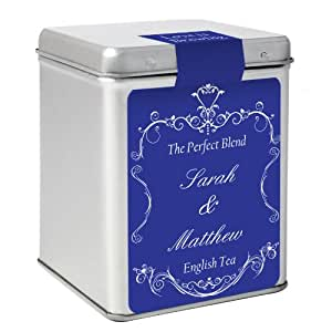 Couples Label Tin with Tea Bags - Personalise with name and message by C.P.M.