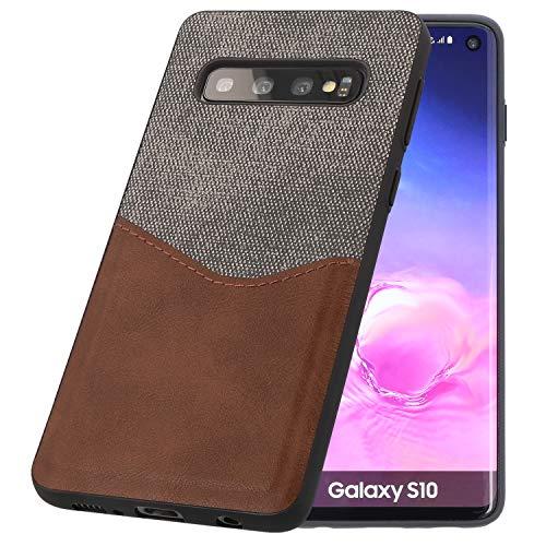 PULSARplus Handyhülle für Samsung Galaxy S10 Hülle, extra dünn, Schutzhülle Stoff Canvas Lederoptik, Case Cover Handytasche kompatibel mit Samsung Galaxy S10