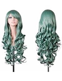 Beikoard Peluca-Mujeres dama larga ondulado pelo rizado Anime Cosplay partido pelucas peluca completa