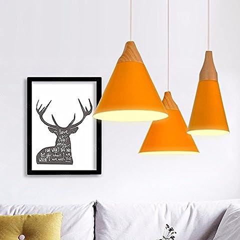 YM@YG lampadario moderno con minimalismo Soggiorno camera da letto hall caffetteria albergo lampadari Lampadario in alluminio solido Nordic cono retrò minimalista,Arancione b