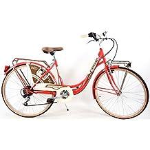Bicicleta CINZIA Mujer Retro Holandesa de 6V Rojo Urbana de 6 Velocidades CI062_rojo