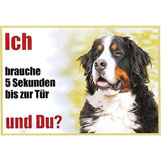 WARNSCHILD Warnschild Berner Sennenhund 070 ca. 21 x 15 cm laminiert wasserabweisend Motiv : Ich brauche 5 Sekunden bis zur Tür und Du ? Verwendbar im Innen und Außenbereich