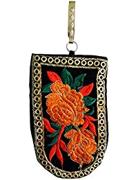 Salvus App SOLUTIONS Designer Handmade Embroidery Black With Orange Flower Art Mobile Bag