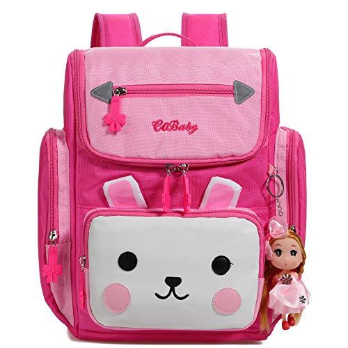 ALI VICTORY Schultasche Serie Mädchen Schule Rucksack für Grundschule süße Katze Kaninchen Stickerei Buch Taschen für Kinder (Rosa Red, S)