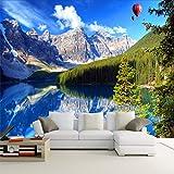Yologg Carte Da Parati Personalizzate Foto Murali In 3D Neve Mountain Lake Paesaggio Paesaggio Tv Sfondo Muro Sfondi Muro Di Mattoni-250X175Cm