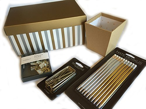 gold-metallic-school-and-office-kit-silver-and-gold-pencil-set-kraft-pen-pencil-cup-threshold-binder