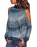 YOINS Donna Camicetta Casuale Maglietta con Spalla Fredda T-Shirt con Collo Alto a Maniche Lunghe Pullover a Righe Felpe Dark Blue EU46