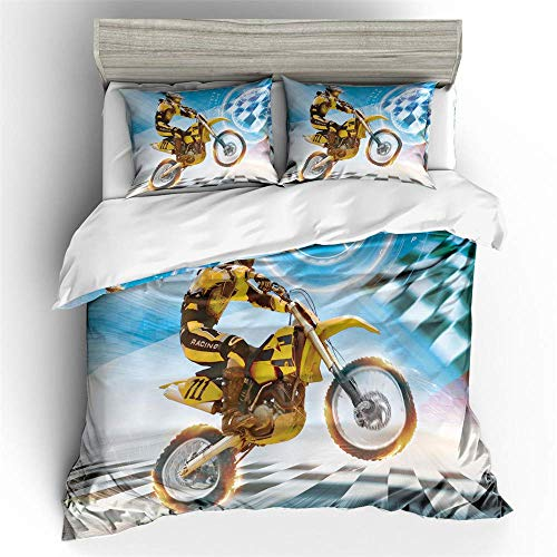 XWXBB Bettwäsche Set 3D Motorrad Bettdecke Offroad Motorrad Mikrofaser Bettbezug Kissenbezug 3-teiliges Set (200 x 200 cm,A01) -