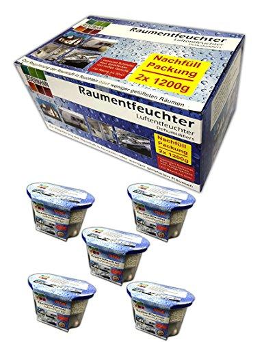 5x Raumluftentfeuchter Granulat inkl. Nachfüllpack | Luftentfeuchter Auto Keller