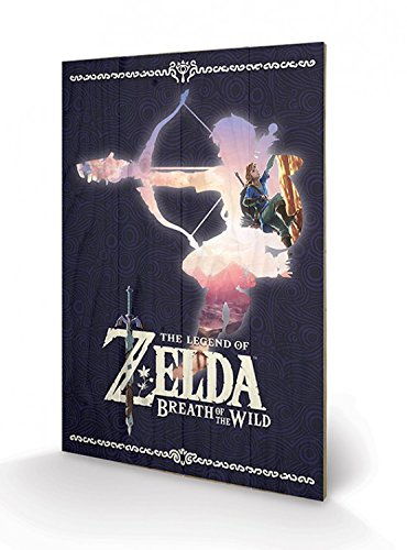 Preisvergleich Produktbild 1art1 102856 The Legend of Zelda - Zelda Breath of The Wild Silhouette Poster Auf Holz 60 x 40 cm