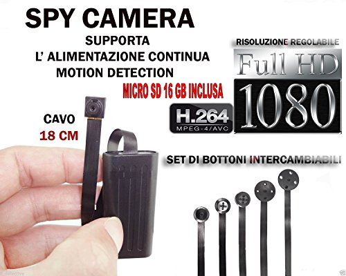 MICROSPIA SPY CAMERA SPIA FULL HD + MICRO SD 16 GB MOTION DETECTION TELECAMERA MICRO NASCOSTA MICROCAMERA