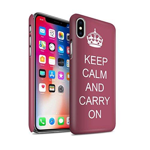 STUFF4 Matte Snap-On Hülle / Case für Apple iPhone X/10 / Schnurrbart/Braun Muster / Bleib Ruhig Kollektion Mach Weiter/Braun