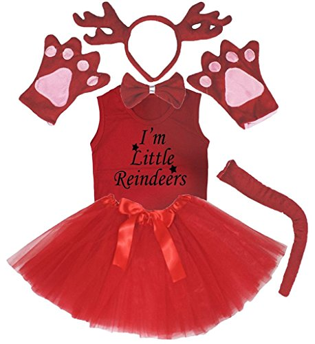 Schwanz Deer Kostüm - Petitebelle 3D-Stirnband Bowtie Schwanz Handschuhe Hemd Rock 6pc Mädchen-Kostüm 3-4 Jahre 3d Rot Deer Rentier