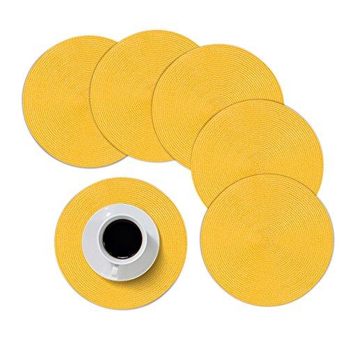 Sets de table ronds Furnily Isolation chaleur antidérapant PP rond tressé/tissé Sets de table, Lot de 6, jaune