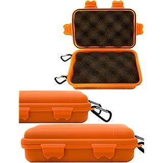 Outdoor Saxx - Storage Case mit 2X Karabiner | Spritz-Wasserdicht stoß-geschützt, für Kamera, Handy, Ausrüstung | Boot, Ski, Jagd, Strand | 16x11cm Orange
