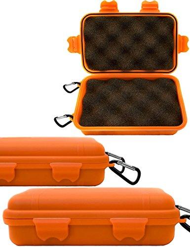 Outdoor Saxx - Storage Case mit 2X Karabiner   Spritz-Wasserdicht stoß-geschützt, für Kamera, Handy, Ausrüstung   Boot, Ski, Jagd, Strand   16x11cm Orange