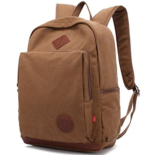 Augur zaino-unisex casual zaino in tela zaino da 15.6 pollici laptop zaino zaino da trekking daypack per uomo donna all'aria aperta (caffè)