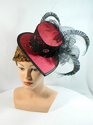 Mini Damen-hut rot schwarz Gothic Hut Fascinator Mini-Hat Zylinder (Reenactment Kostüme Bürgerkrieg)