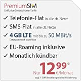 PremiumSIM LTE 3000 [SIM, Micro-SIM und Nano-SIM] monatlich kündbar (4 GB LTE mit max. 50 MBit/s + Datenautomatik abwählbar, Telefonie-Flat und SMS-Flat, EU-Roaming inklusive, 12,99 Euro/Monat)