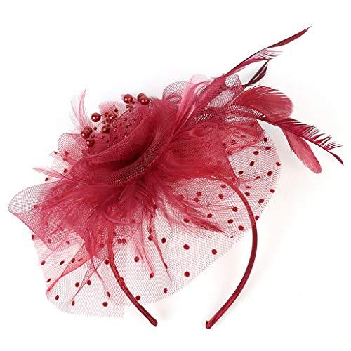 ZubehöR Stirnband Klassisch Fascinators Hut Blume Mesh BäNder Federn Auf Einem Stirnband Cocktail Tea Tanzparty Party Retro Headwear FüR MäDchen Und Damen ()