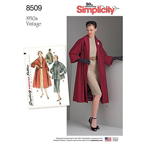 Simplicity 8509R5(14-16-18-20-22) Patron Vintage Manteau ou Veste, Papier, Blanc, 22x 15x 1cm