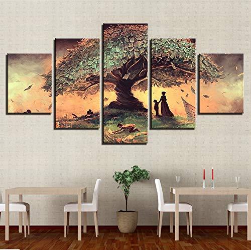 Wiwhy (Kein Rahmen) Leinwand Poster Wandkunst Hd Druckt Abstrakte Bilder 5 Stücke Surreale Fantasie Märchenbaum Gemälde Wohnzimmer Dekor Arbeit