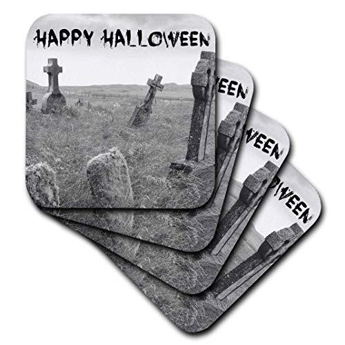 3dRose CST 201869Urlaub Xander Quotes-Happy Halloween-Schwarz auf Bild der Scary Grabsteine-Untersetzer, Keramik, schwarz, set-of-4-Ceramic (Grabsteine Halloween Cartoon)