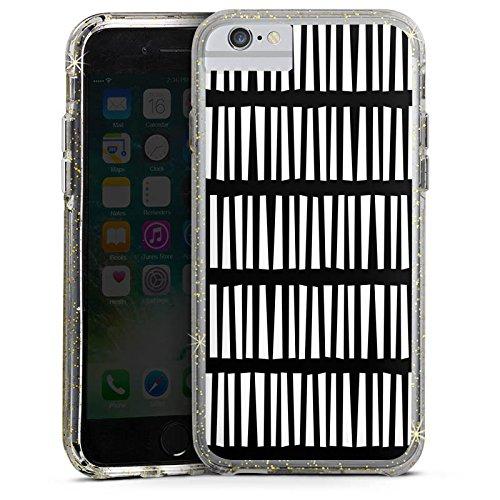 Apple iPhone 7 Bumper Hülle Bumper Case Glitzer Hülle Lines Linien Streifen Bumper Case Glitzer gold