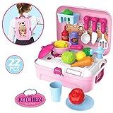 Buyger 22 Pezzi Plastica Gioco di Ruolo Zaino Giochi d'imitazione Cucina Accessori Cibo Set Giocattolo Regalo per Bambini