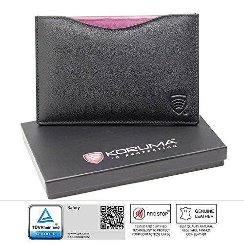 KORUMA Ⓡ RFID portafoglio - Custodia da viaggio per passaporto Executive - 100% protezione RFID - IN CONFEZIONE REGALO (26NBL)