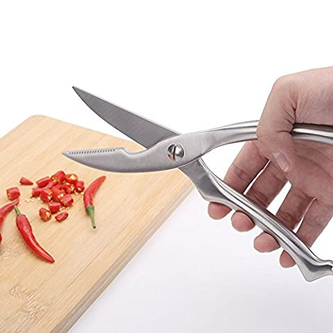 Zogin Multifunction Stainless Steel Kitchen Sharp Cut Poultry Chicken Bone Scissors Strong Kitchen Scissors, Durable Chicken Scissors Poultry Shears (Without pom handle)