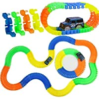 PATPAT Play Hard 220-Pieces Magic Race Bend Flex and Glow Tracks with LED Light Racing Track Car