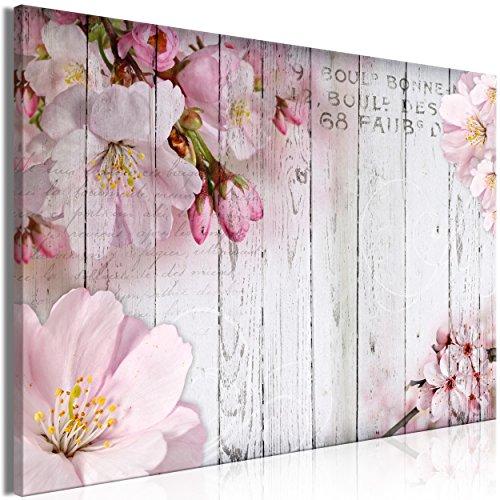 decomonkey Bilder Blumen Holz 90x60 cm 1 Teilig Leinwandbilder Bild auf Leinwand Wandbild Kunstdruck Wanddeko Wand Wohnzimmer Wanddekoration Deko Rosa Vintage Brett Kirschblüte