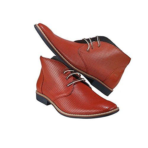 PeppeShoes Modello Lecce - 39 - Handgemachtes Italienisch Bunte Herrenschuhe Lederschuhe Herren Rot Stiefeletten Chukka Stiefel - Rindsleder Geprägtes Leder - Schnüren -