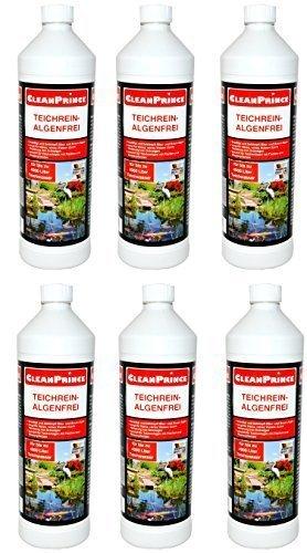 6 x 1 Liter = 6 Liter CleanPrince Teichrein Algenfrei 1000 ml Algenvernichtung Blaualgen Braunalgen Teichreiniger Algenreinigung Teich Reiniger Teichklar Algenentferner