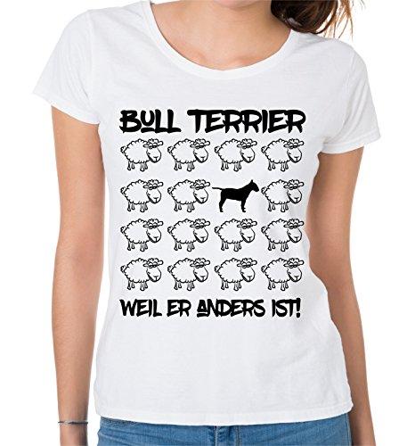 Siviwonder WOMEN T-Shirt BLACK SHEEP - BULLTERRIER BULL TERRIER - Hunde Fun Schaf Weiß