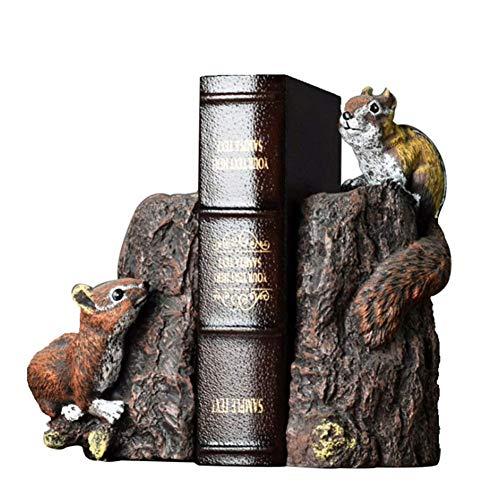 Niedliche Eichhörnchen Buchstützen Skulptur,Hochwertige Harz Dekoration Handwerk Nachahmung Tier Statue Buch Stall Ornamente, 2 Stück Buchstützen -