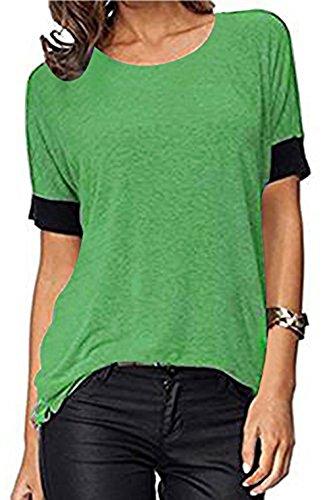 ELFIN Frauen Damen T-Shirt Rundhals Kurzarm Ladies Sommer Casual Oberteil Locker Bluse Tops - Weiches Material - Sehr Angenehm zu Tragen (SV6PO6JR) (Ca Frauen Rabatt T-shirt)
