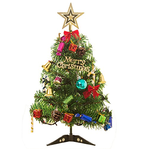 Gosear 50cm Weihnachten Baum mit LED Licht bis Tabelle Dekoration Xmas Partei Ornament für Home Office Tisch Shop Fenster DIY Dekor