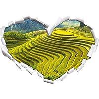 Cinese riso piantagioni scale campi a forma di cuore in formato adesivo aspetto 3D, parete o una porta: 62x43.5cm, autoadesivi della parete, decalcomanie della parete, decorazione della parete - Design Inchiostro Cinese