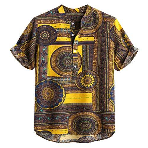 Herren Baumwolle Leinen gedruckt Kurzarm Casual Henley Shirts Krawatte Sommer Tops