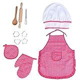 Fcostume Kinder Kochen und Backen Set - 11 Stück Küche Kostüm Rollenspiele, Schürze, Hut (Rosa)