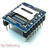 AZDelivery ⭐⭐⭐⭐⭐ WTV020 Sound Audio Modul SD Card für Arduino