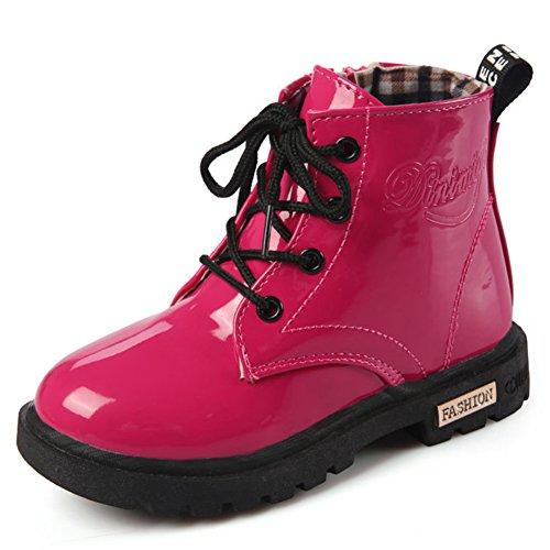 Mädchen Jungen Martin Stiefel Wasserdicht Kurz Schlupfstiefel Winter Kinder Schuhe Schnür Ankle Boots Baby Gummistiefel, Rot 23
