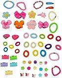 3 * 9 bis 23 tlg. Set _ Haarschmuck: ' Blumen & Herzen ' - Haarspangen + Haarspangen + Haarclips + Armbänder - für Kinder Mädchen Schmuck - Haare Zopf - Haargummi - Haarspange Haarzopf / Kinderschmuck