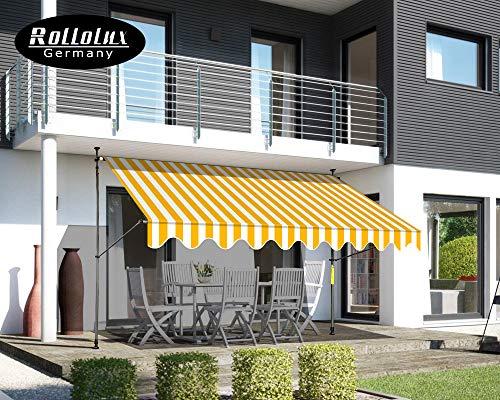 Rollolux Klemmmarkise - Balkonmarkise 400 x 120 cm Gelb/Weiss - Markise mit Handkurbel - Sonnenschutz - Markise mit Gestell - 230-300 cm Höhenverstellbar - ohne Bohren